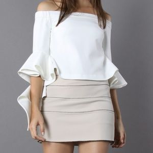 Off Shoulder White Blouse with Spiral Sleeves